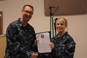 Receiving my Bluejacket of the Year commendation letter a few weeks ago.