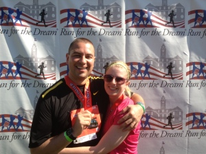 Ben and I after the 8k, celebrating our anniversary.